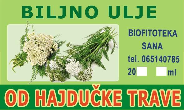 etiketa Biljno ulje od Hajdučke trave